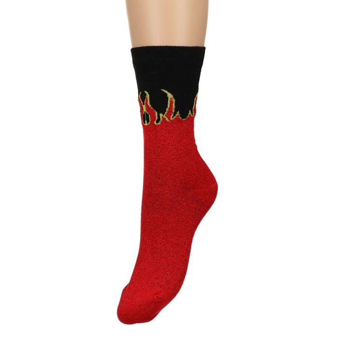 Glitzer-Socken mit Flammen-Aufdruck