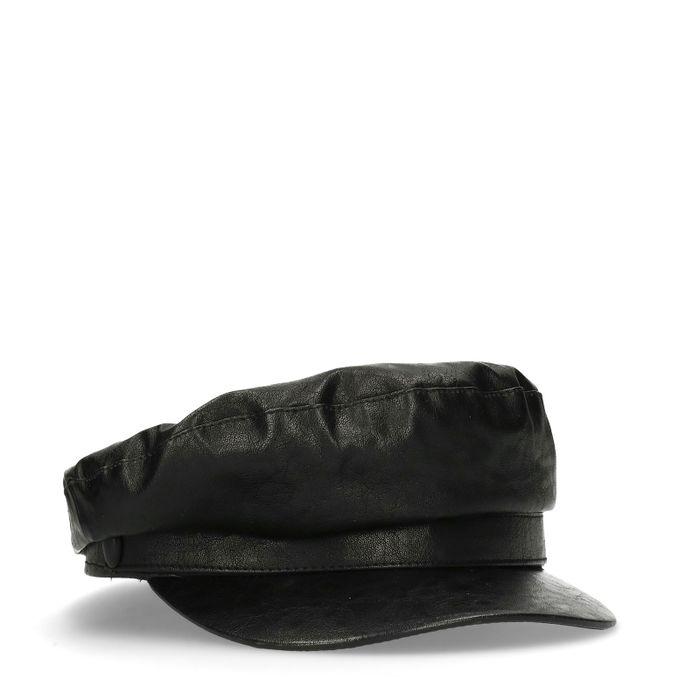 Schwarze Matrosenmütze aus Leder