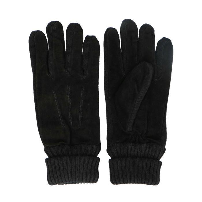 Schwarze Veloursleder-Handschuhe