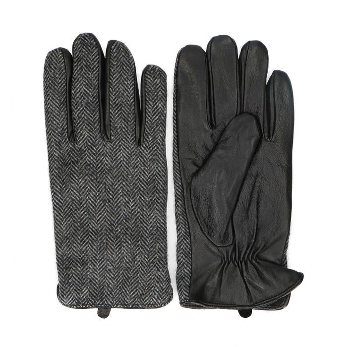 Schwarze Leder-Handschuhe mit Print