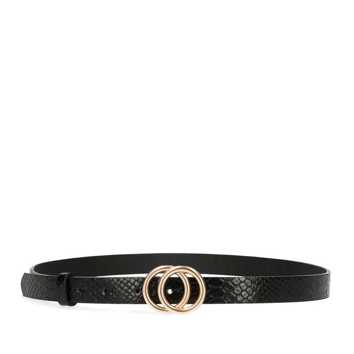 Schwarzer Schlangenmuster-Gürtel mit Ringen