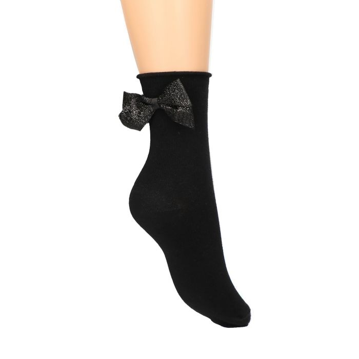 Schwarze Socken mit Glitzer-Schleife