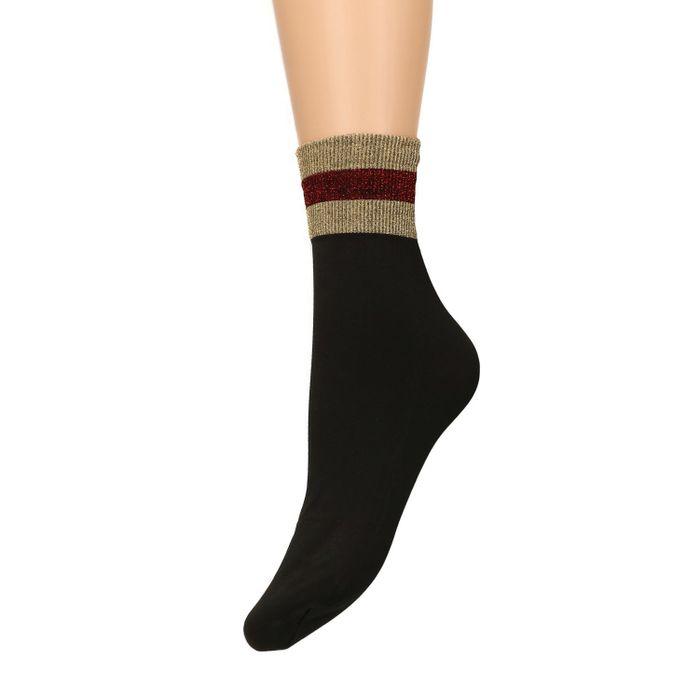Schwarze Socken mit rot-goldenem Glitzerrand