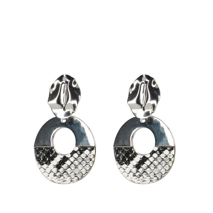 Boucles d'oreille branchées avec imprimé serpent - argenté