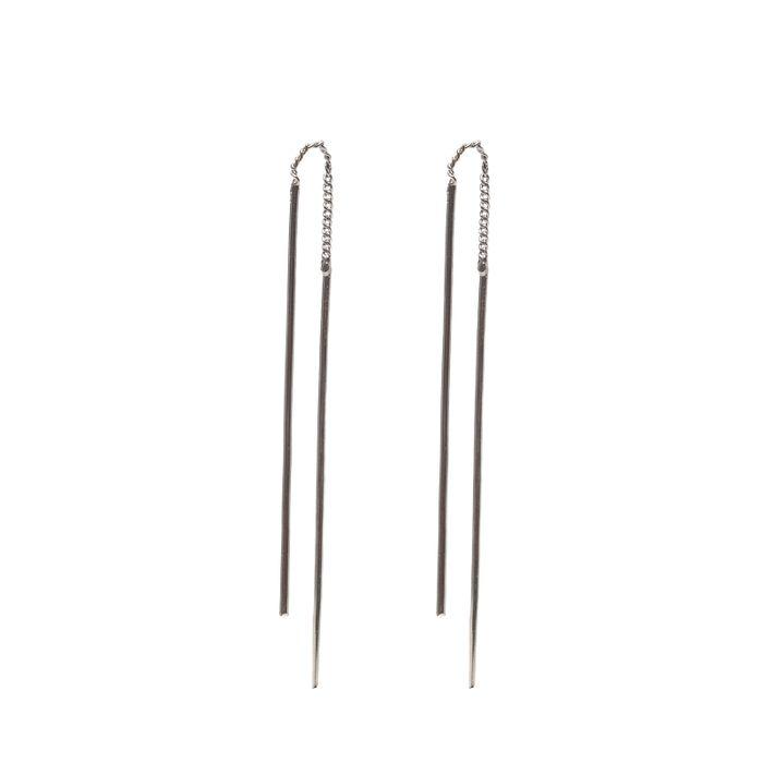 Silberne Stab-Ohrringe zum Durchziehen