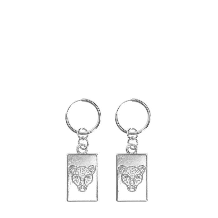 Silberne Ohrringe mit Gepardenkopf-Anhänger