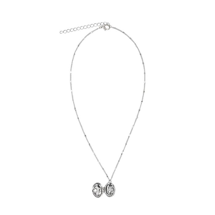 Silberfarbene Kette mit rundem Medaillon