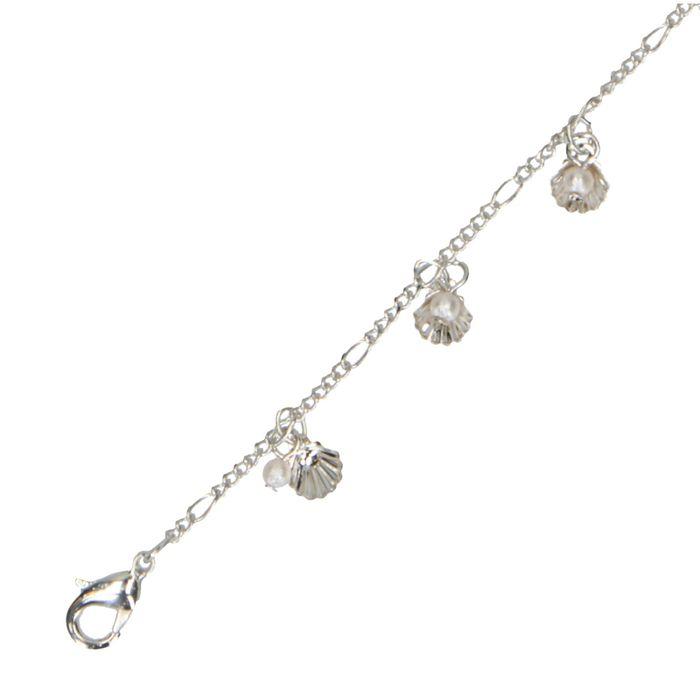 Silberne Kette mit Muschel- und Perlen-Anhängern