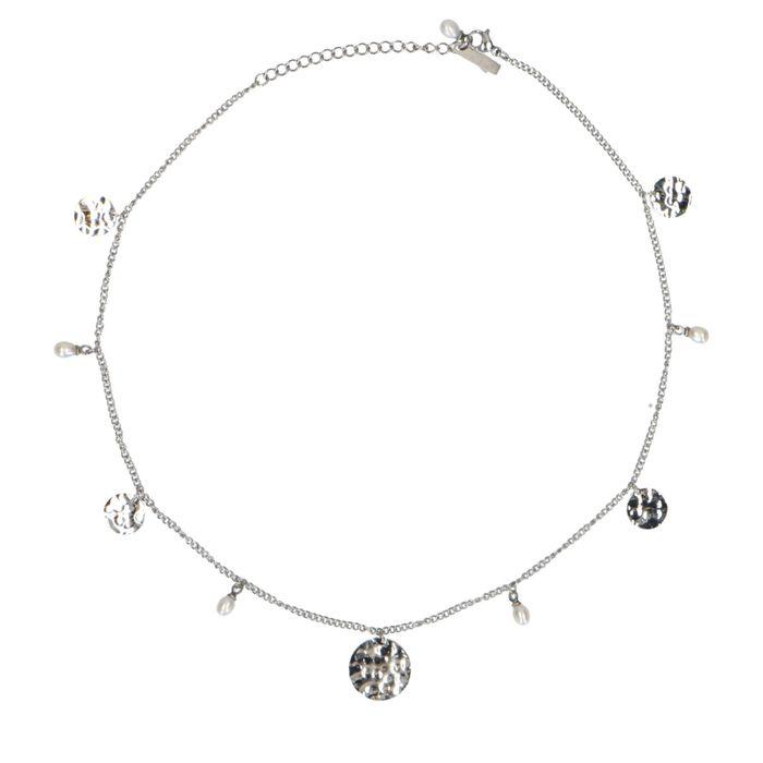 Silberne Kette mit Münz-Anhängern und Perlen