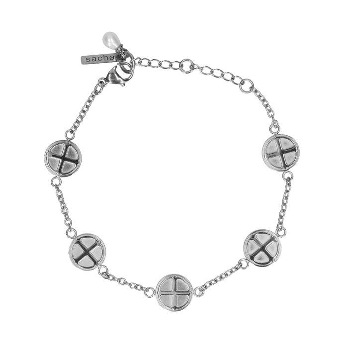 zilverkleurige armband met muntjes