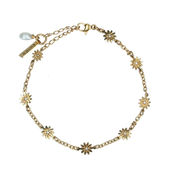 Goldfarbenes Armband mit Gänseblümchen
