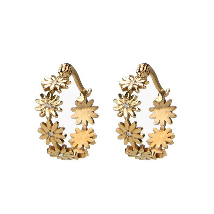 Goldfarbene Ohrringe mit Gänseblümchen