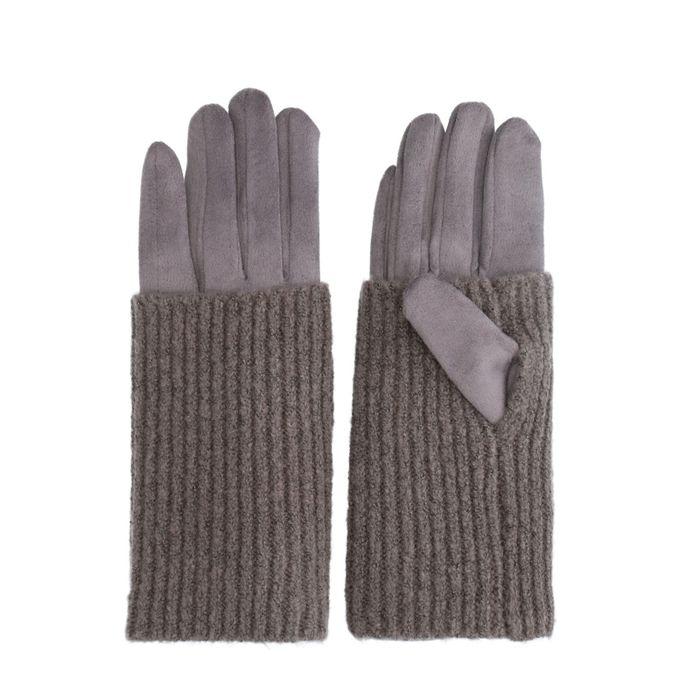Graue Handschuhe mit Strick-Detail