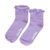Lila Socken mit Rüschen