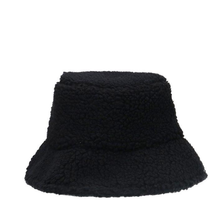 Schwarze Bucket Hat im Teddy-Look