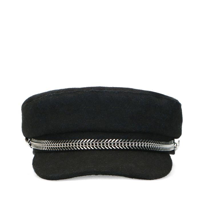 Schwarze Boy Cap mit silbernen Details