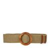 Beigefarbener Bast-Gürtel mit runder Schnalle