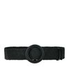 Schwarzer Bast-Gürtel mit runder Schnalle