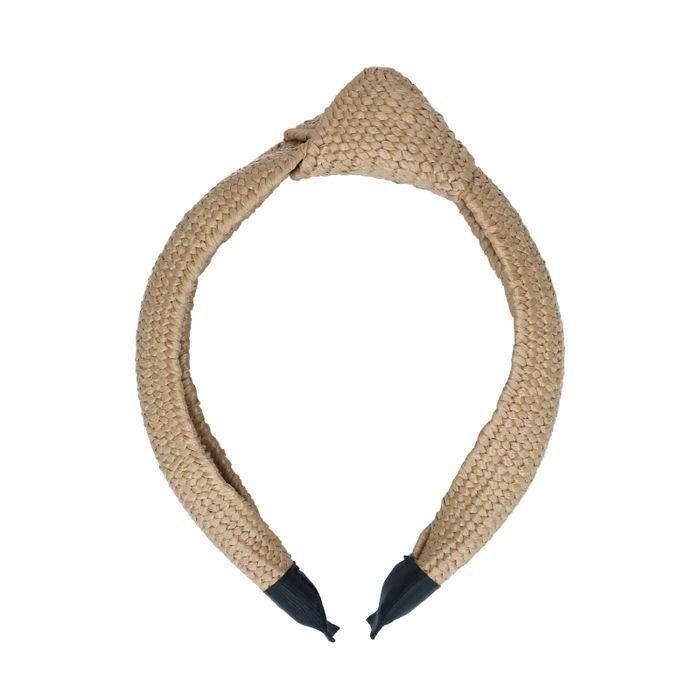 Beigefarbenes Haarband mit Knoten und gewobener Struktur