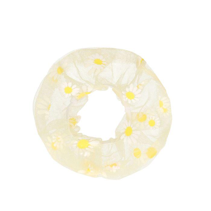 Gelber Scrunchie mit Gänseblümchen