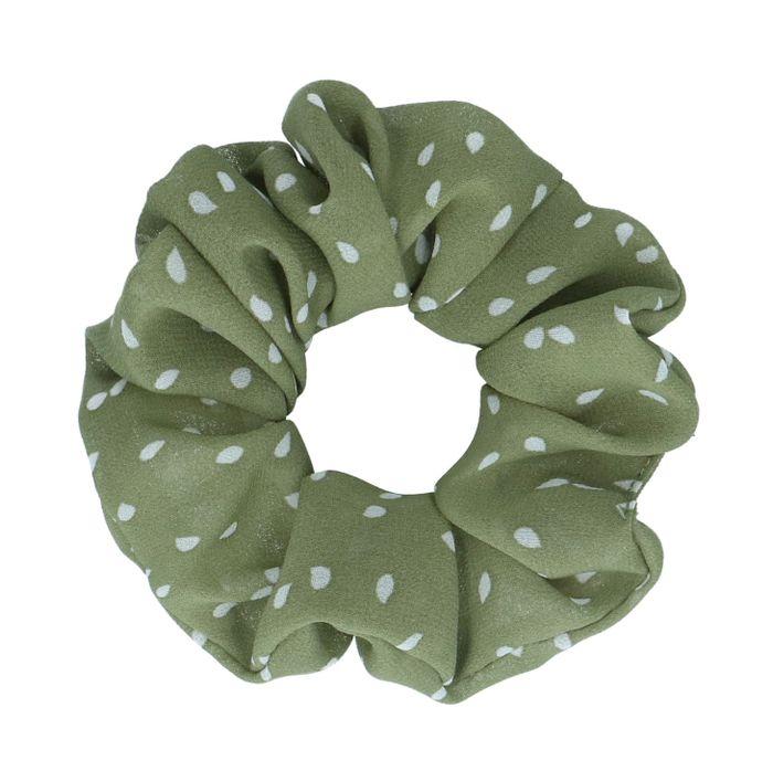 Grüner Scrunchie mit Punkten