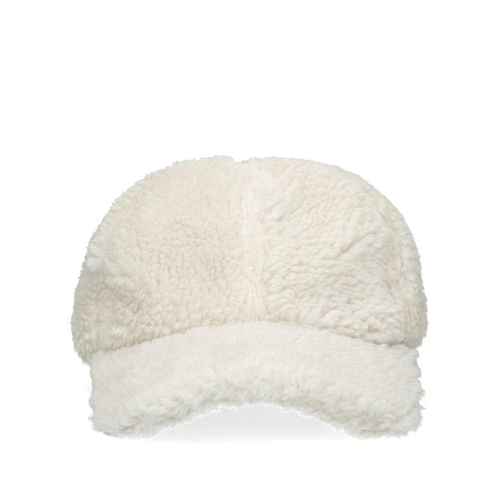 Offwhite Kappe in Teddy-Optik