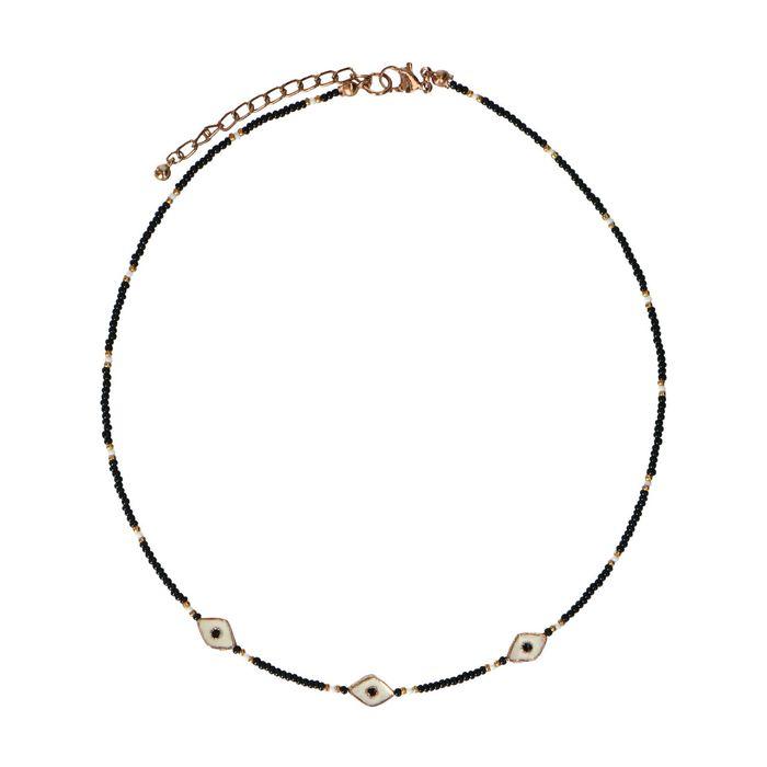 Schwarze Perlenkette mit Augen