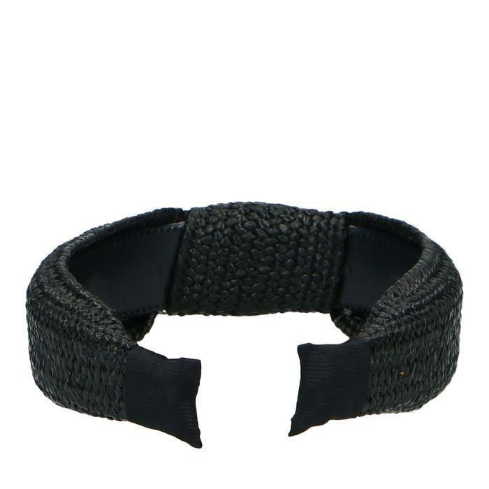 Schwarzes Haarband mit Knoten und gewobener Struktur