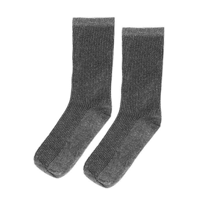 Silberne Glitzer-Socken mit Rippenmuster