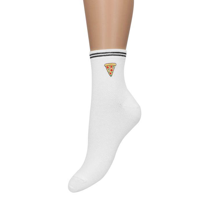 Weiße Socken mit Pizza-Print