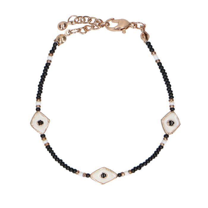 Bracelet avec perles noires et yeux