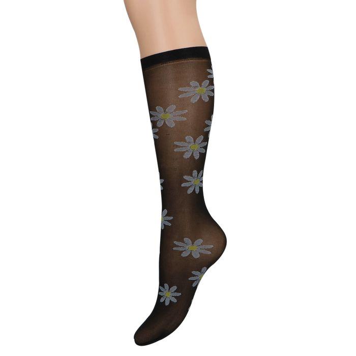 Chaussettes transparentes avec marguerites - noir