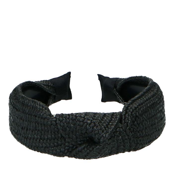 Bandeau avec nœud et structure tressée - noir