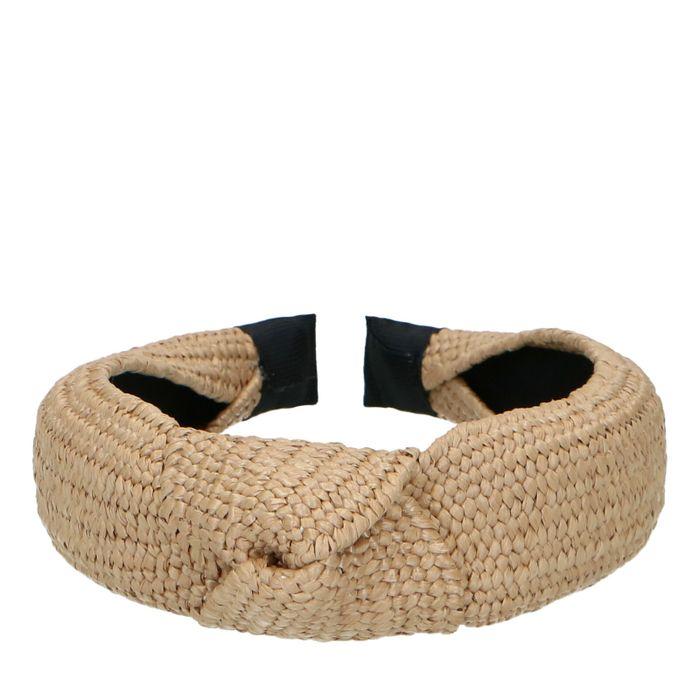 Beige haarband met knoop en gewoven structuur
