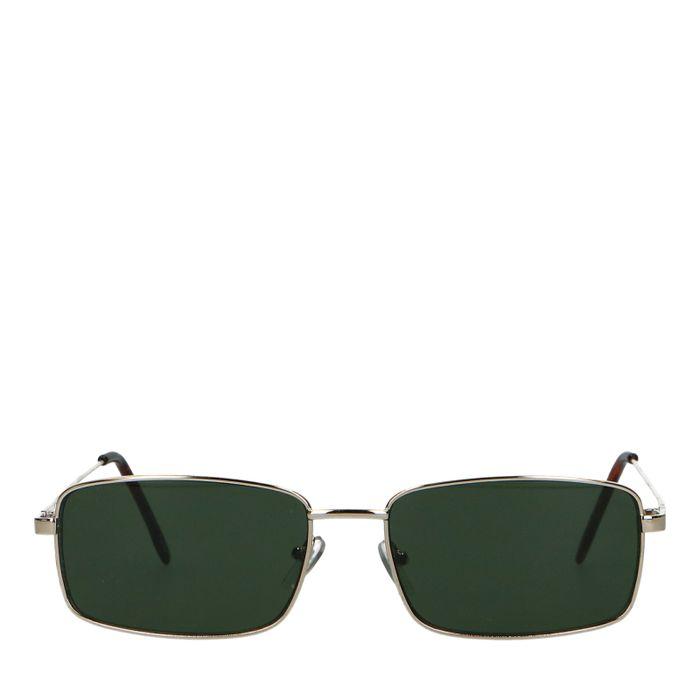 Rechthoekige retro bril met groene glazen