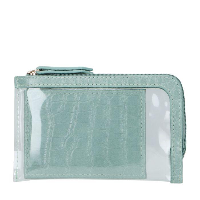 Groene cardholder met doorzichtige mini bag