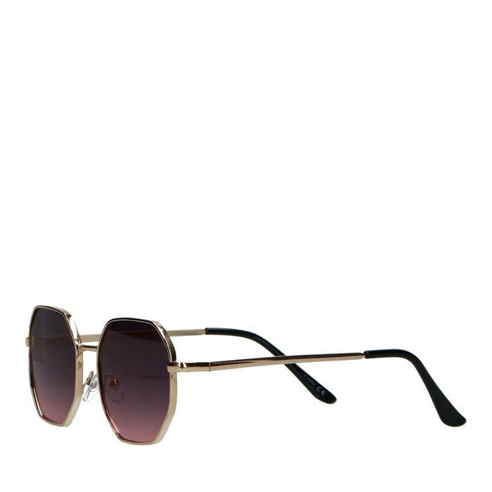 Goudkleurige retro zonnebril met roze glazen