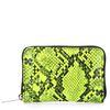 Neon gele portemonnee met snakeskin