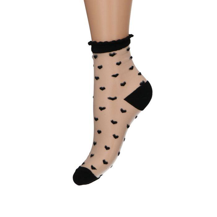 Zwarte doorzichtige sokken met hartjes