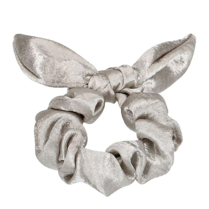 Chouchou avec petit nœud - argenté