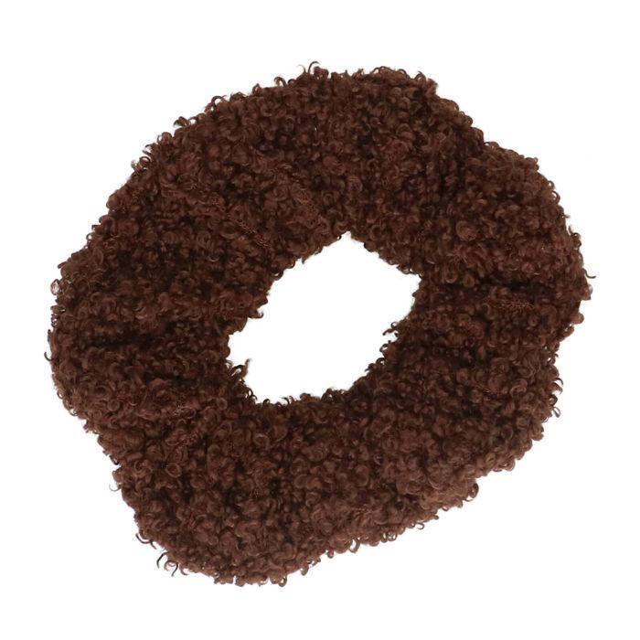 Chouchou duveteux - marron foncé