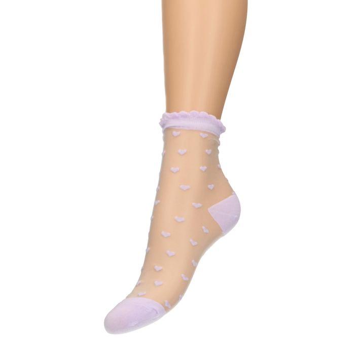 Chaussettes transparentes avec petits cœurs - lilas