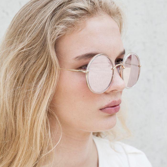 Ronde retro zonnebril transparant