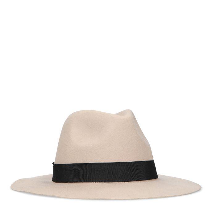 Chapeau en laine avec bande noire - beige