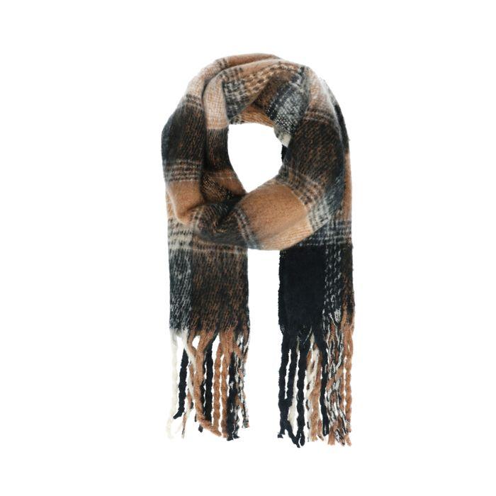 Écharpe motif à carreaux - noir et camel