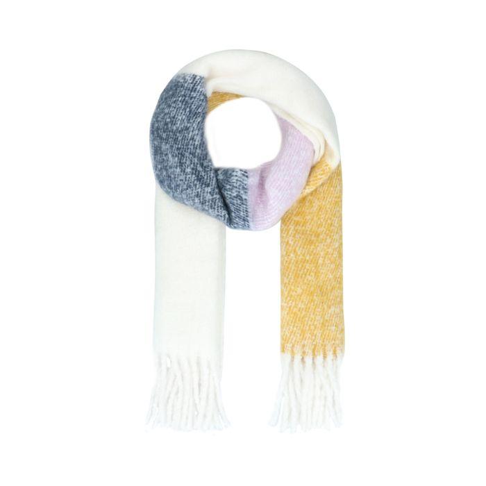 Écharpe tricotée color block