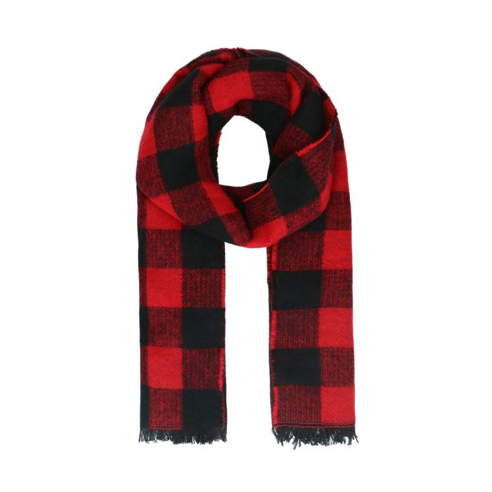 Écharpe motif à carreaux - noir et rouge