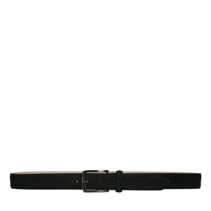 Schwarzer Veloursleder-Gürtel mit silberner Schnalle