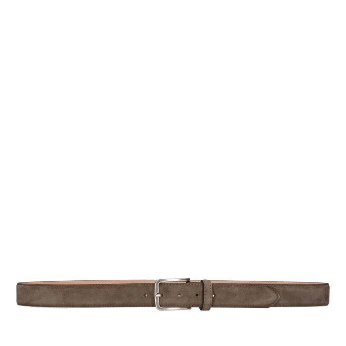 Taupefarbener Veloursleder-Gürtel mit silberner Schnalle