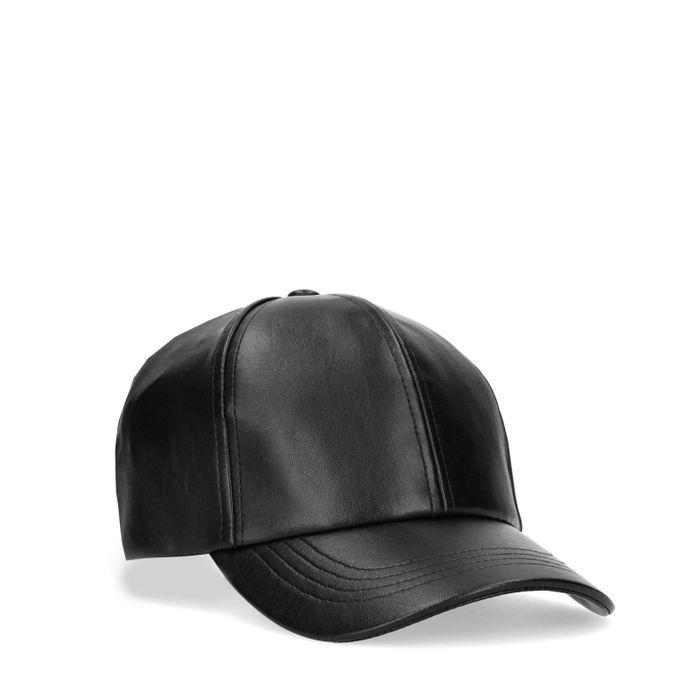 Casquette aspect cuir - noir